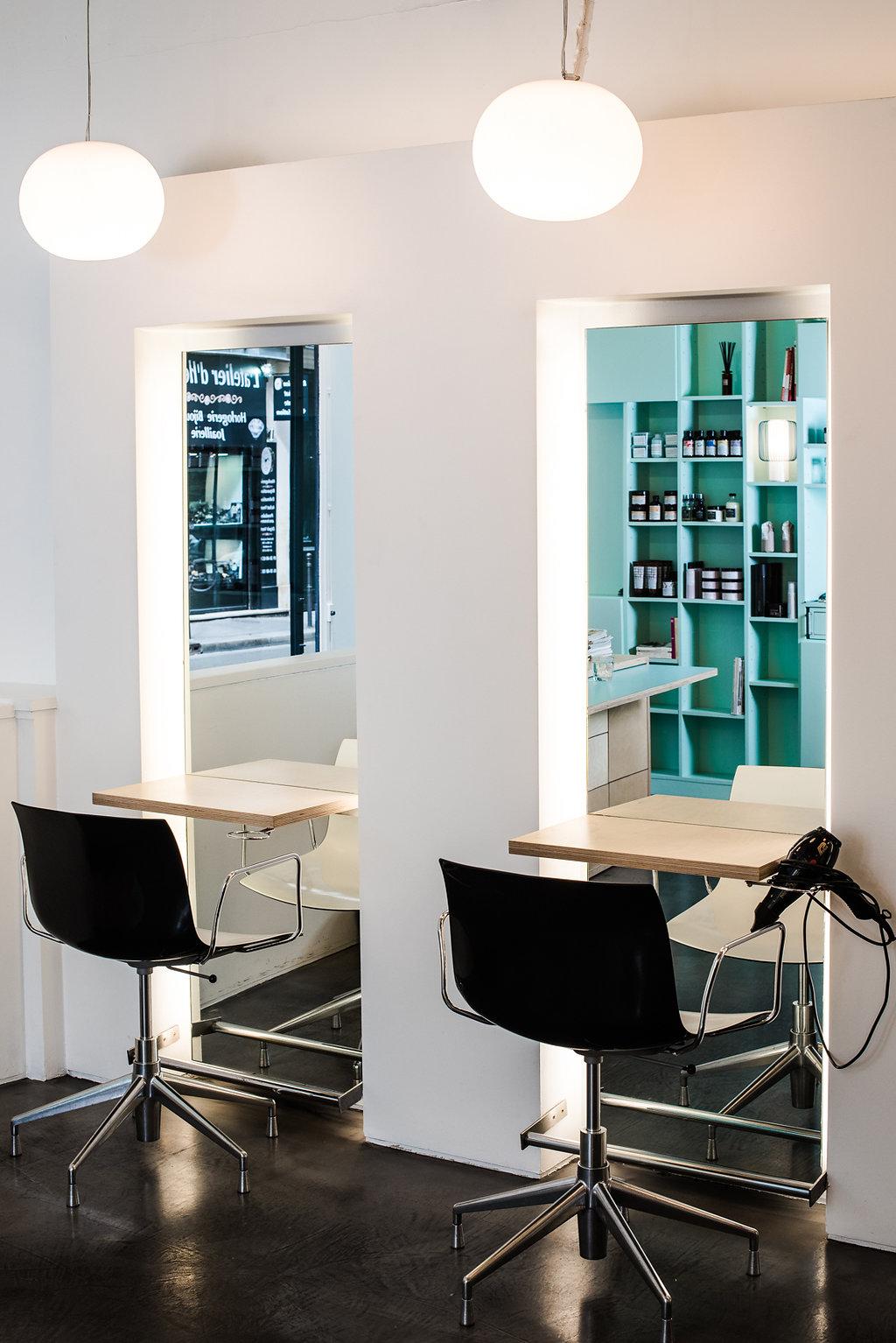 Le salon, espace coiffure